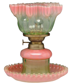 Rubina Verde Lamp Pink Crimped Ruffled Edges Burner