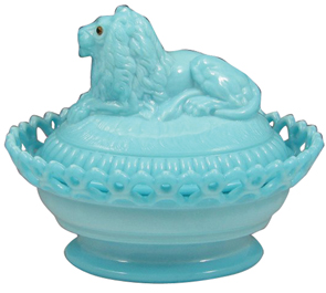 Westmoreland Glass Animal Dish Lion Cover Lacy Base Blue Milk Glass