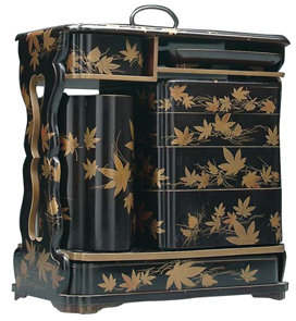 Lacquer Picnic Set Maple Leaves Pinecones Decanter Food Container Tray