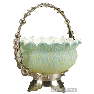 Brides basket Blue Satin Yellow Coralene Silver Plated Frame Middletown | Kovels' Price Guide
