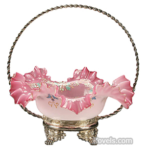 Brides basket Pink Opalescent Enameled Flowers Tufts Frame 4 Paw Feet c1900 | Kovels' Price Guide