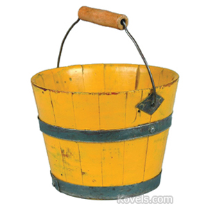 Shaker Berry Bucket Yellow Tin Bands Wire Bail Handle Wood Grip