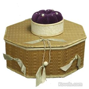 Shaker Box Sewing Poplar Kid Trim 8-Sided Pincushion Silk Sabbathday Lake