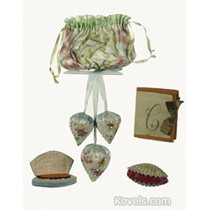 Shaker Sewing Set Bag Silk Beeswax Ball Emery Pincushions Needle Book 4 Piece