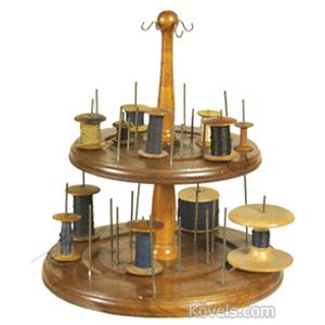 Shaker Spool Holder Cherry Knob Top 4 Hooks 13 Spools Betsey Hastings Died May 15 1844