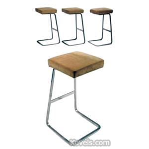 Furniture Barstool Philip Johnson Chrome Cushions Knoll