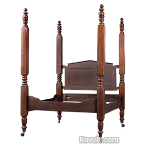 Furniture Bed Four-Poster Mahogany Walnut Ring Baluster Posts