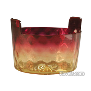 Amberina Bowl Inverted Thumbprint Bucket Shape Tab Handles | Kovels' Price Guide