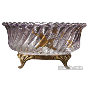 Baccarat Basket Amethyst Diagonal Ribs Gold Birds Insects Flowers Metal Base 4-Footed | Kovels' Price Guide