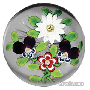 Baccarat Paperweight Clematis Pansies Primrose Star Cane Center | Kovels' Price Guide