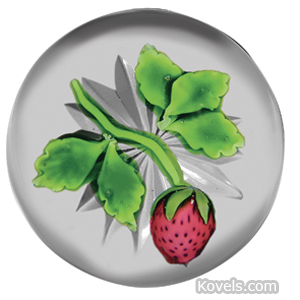 Baccarat Paperweight Strawberry Green Stem Leaves Clear Star-Cut Ground | Kovels' Price Guide