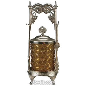 Castor jar Pickle Daisy Button Amber Pierced Scrolls Middletown Frame | Kovels' Price Guide