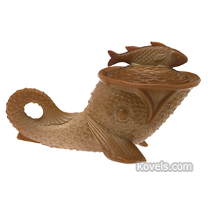 Chocolate glass Dolphin Dish Cover | Kovels' Price Guide