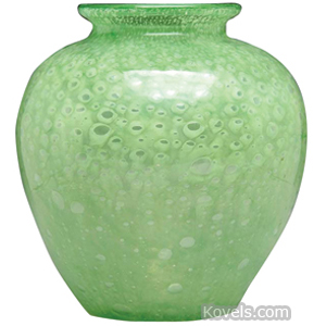 Cluthra Vase Green Bulbous Flared Rim Steuben | Kovels' Price Guide