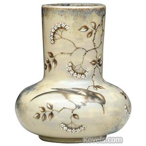 Fireglow Vase Enameled Bird On Branch Flowers Cylindrical Neck