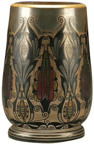 Glass-Bohemian Vase Translucent Feather Enamels Gold Tracery C1920