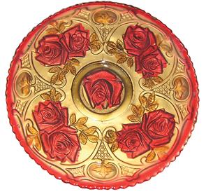 Goofus Glass Roses Bowl Green Stems,