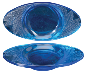 Lalique Ashtray Feuilles Leaves Electric Blue C1924