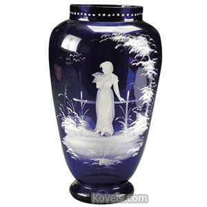 Mary Gregory Vase Maiden Cobalt Blue Bulbous Cylindrical Rim Beaded Footed