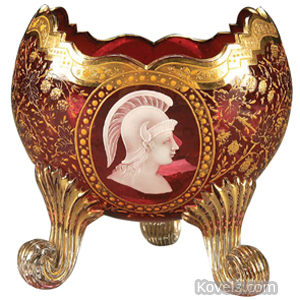 Moser Bowl Cranberry Medallion Roman Warrior Oval 3 Scrolled Feet Shaped Rim