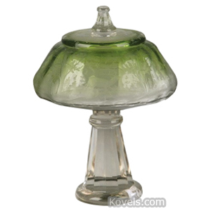Moser Punch Bowl Cover Etched Green Tint Pedestal Base