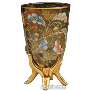 Moser Vase Enameled Oak Leaves Gold Bee Branches Acorns 4-Footed Base