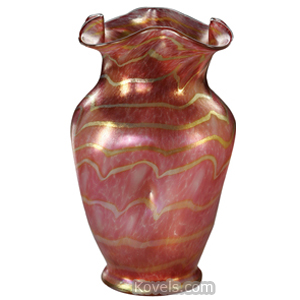 Nash Vase Gold Iridescent Magenta Ribbed Bulbous Neck Flared Rim Footed