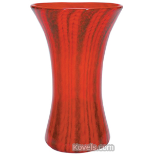 Nash Vase Red Orange Pulled Olive Green Blue Vertical Stripes Flared Rim
