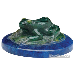 Pate-De-Verre Paperweight Green Frog Lily Pad Blue Water Decorchemont