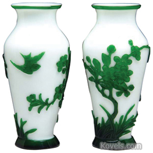 Peking Glass Vase Flowering Trees Bird In Flight Emerald Green