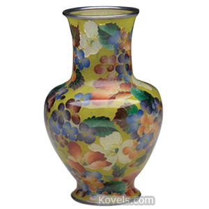 Plique-A-Jour Vase Blue Russet Amethyst Blossoms Metal Rim Base Japan