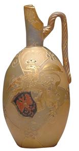 Royal Flemish Ewer Rampant Lion Crown Lance Stylized Flower Medallion Twist Handle