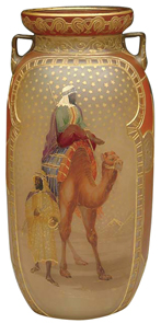 Royal Flemish Vase 2 Egyptian Men Camel Pyramids Stars Raised Gold Decoration Handles
