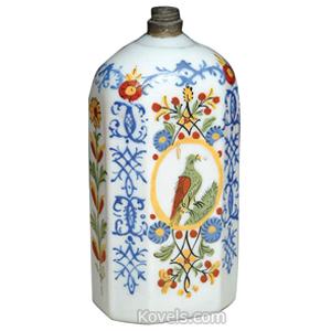 Stiegel Type Bottle White Enameled Flowers Birds Half Post Shape Fitted Top