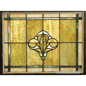 Window Stained Glass Leaded Caramel Slag Glass Wood Frame