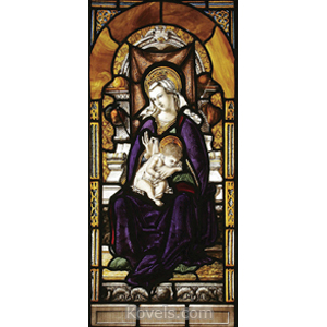 Window Stained Glass Virgin Child Jesus 19th Century