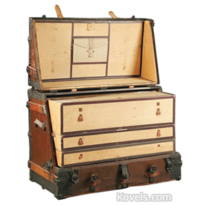 Trunk Steamer Leather Brass Strap Corners  Graduated Drawers C
