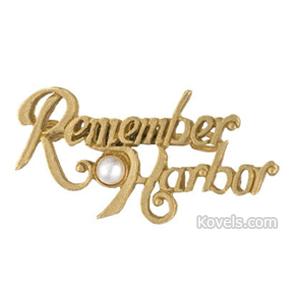 World War Ii Pin Remember (Mounted Pearl) Harbor Brass Luster Die Cut