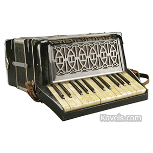 Music Accordion Hutschelli Black Lacquer Case Mother-Of-Pearl Accents Case Italy
