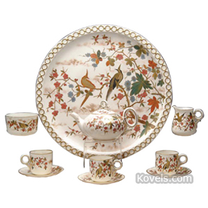 Belleek Tea Set Exotic Birds On Flowering Branch Black Mark | Kovels' Price Guide