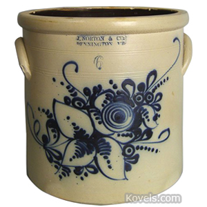 Bennington Crock Flowers Cobalt Blue Stoneware J Norton 6 Gal | Kovels' Price Guide
