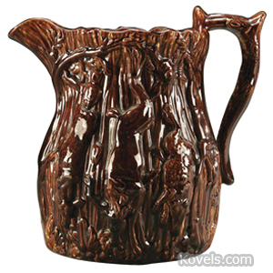 Bennington Pitcher Hunting Scene Deer Rabbits Rockingham Glaze | Kovels' Price Guide