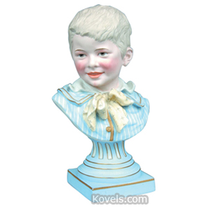Bisque Figurine Bust Boy Victorian Blond Hair Striped Shirt Bowtie | Kovels' Price Guide