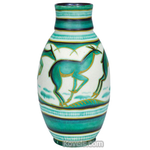 Boch Freres Vase Earthenware Leaping Deer Green Bands Bulbous Keramis | Kovels' Price Guide