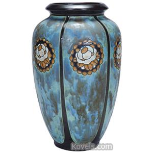 Boch Freres Vase Stoneware 6 Panels Floral Medallions Gres Keramis Mark | Kovels' Price Guide