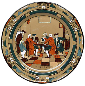 Buffalo pottery Plate Ye Village Gossips Men Talking Lang c1908 | Kovels' Price Guide