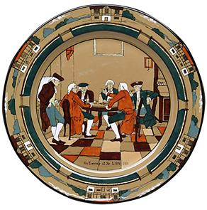 Buffalo pottery Plate Ye Village Gossips Men Talking Lang c1908 | Kovels' Price Guide