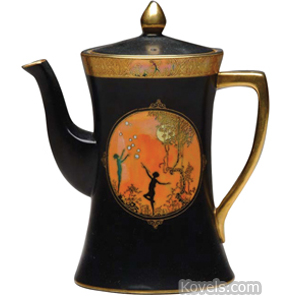 Carlton ware Teapot Cameo Black Matte Glaze Medallion Dancers Flame Luster Band | Kovels' Price Guide