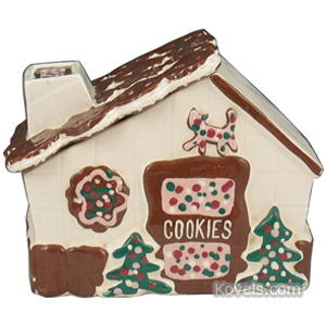 Cookie jar Gingerbread House Painted Details Roof Cover Cleminsons | Kovels' Price Guide