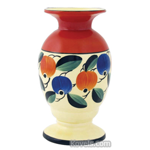 Czechoslovakia Pottery Vase Fruit Yellow Orange Ground Flared Rim Footed | Kovels' Price Guide